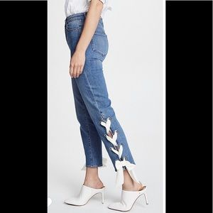 Paige jeans with ribbon detail.